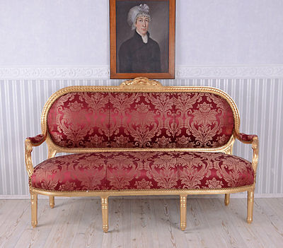Gigantic Salon Sofa Rococo Couch Red Baroque Sofa Madame Pompadour