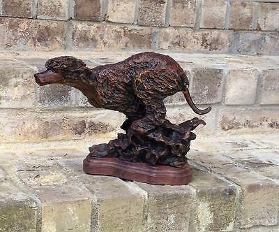*New* Leslie Hutto Irish Water Spaniel Ltd Edition Bronze Large Running Figurine