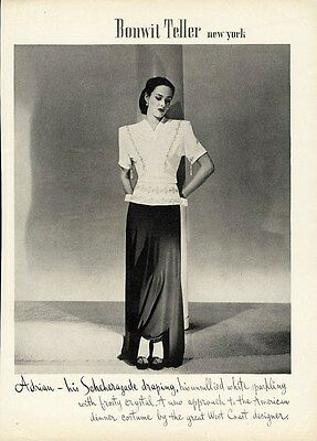 ADRIAN Fashion Ad Page 1944 Evening Design Dress with Scheherazade Draping