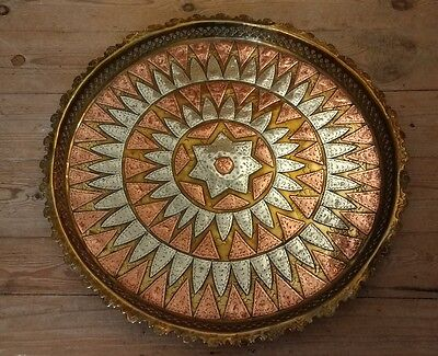 Beautiful Large Vintage Ornate Brass & Copper Tray - Middle East Islamic Metal