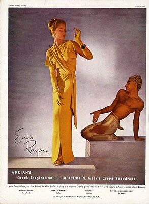 ADRIAN Fashion Ad Page 1943 Yellow Evening Gown GREEK Inspiration Werk Fabric