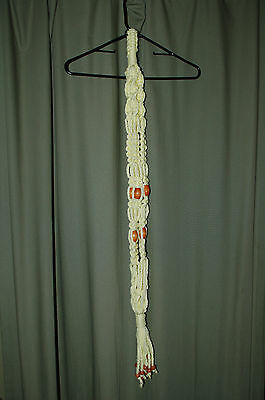"""Hand Crafted - Macrame Plant Hanger 40"""" Light Yellow with Wood Beads"""