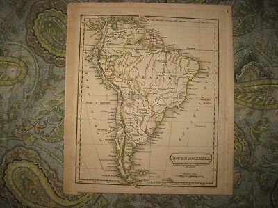 Antique 1828 South America Handcolor Map Brazil Colombia Patagonia Buenos Aires