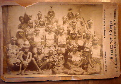 Rare Tribal Dahomey Women Warriors Black  Africa Cabinet Card Photo Peter Nissen
