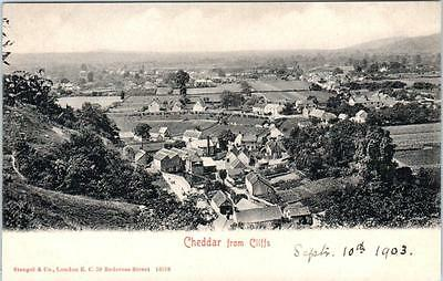 CHEDDAR, Somerset  England  U.K.   Birdseye from CLIFFS  1903   Postcard
