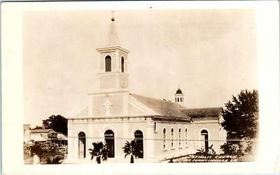 RPPC  ST. MARTINVILLE, Louisiana LA   CATHOLIC CHURCH  c1930s-40s Postcard