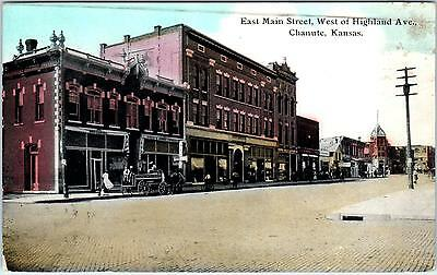 CHANUTE, KS Kansas     East MAIN STREET SCENE     c1910s       Postcard