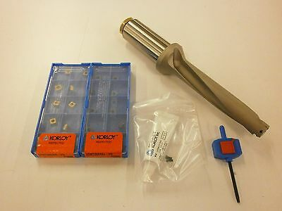 "3/4"" Korloy King Drill Kit 5Xd Indexable Carbide Inserts Coolant Thru .750"""