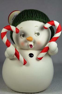 Dept 56 Snowpinions Snowman 'Sweetheart' Holding 2 Candy Canes #4045176 NEW!