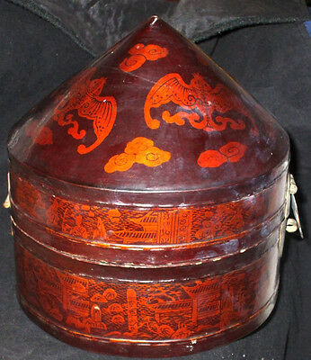Antique Chinese Paper Mache Lacquer Hinged Lid Hat Box w/ Bats