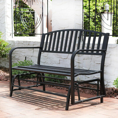 Bench Glider Rocking Chair Outdoor Patio Garden Furniture Deck Loveseat, Black