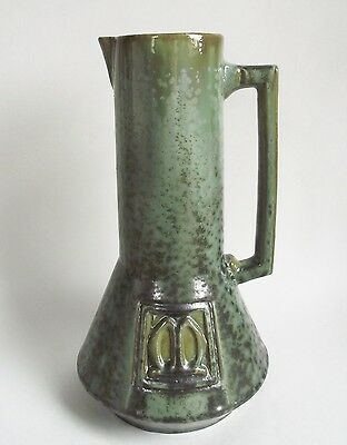 1909 Fulper Art Pottery Green Leopard Skin Crystalline Cider Tankard Pitcher Jug