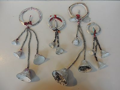 4 Vintage foil & wreath paper mache Christmas bells garland w/candles