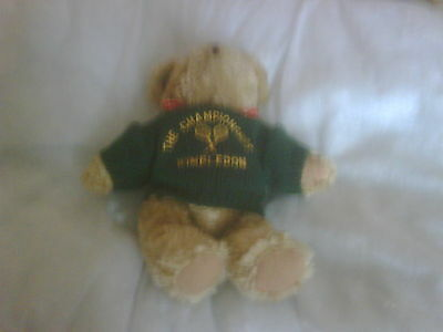 Wimbledon Jointed Teddy Bear in Green Jumper with Wimbledon Logo 9 Inch