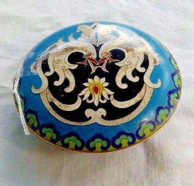 Antique Chinese Cloisonne Enamel Circular Container Box