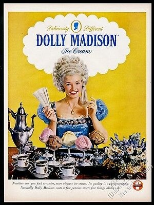 1960 Dolly Madison Ice Cream woman in wig photo vintage print ad