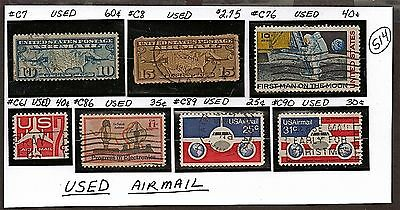 US 7 1923-76 AIRMAIL,PLANE,MOON+ STAMPS (34-93 YRS OLD) Used VF NH See Descr S14