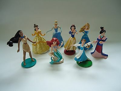 Disney Princess PVC figures lot of 8 play toys cake toppers Belle Ariel Mulan