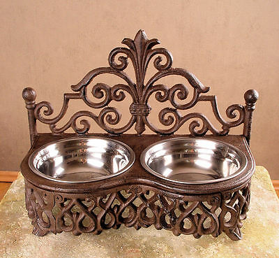 Double Bowl Food Bowl Country House Style Cat & Dog Cast Iron