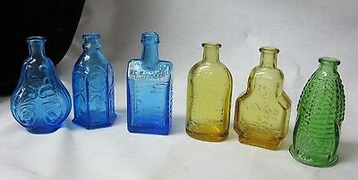 6 Vintage Marked WHEATON Bottles Amber Blue Green Old Docs Ink Whiskey Balsam
