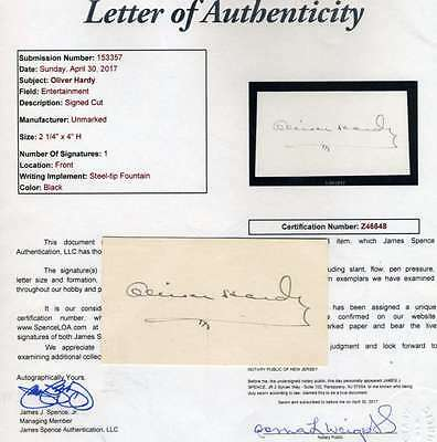 Oliver Hardy Jsa Coa Hand Signed 3X5 Index Cut Authenticated Autograph