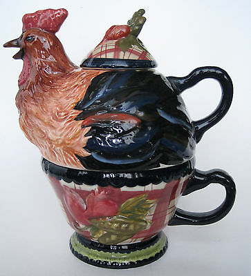 Tracy Porter Rooster Chicken Teapot Cup Tea For One Stonehouse Farm - Damaged