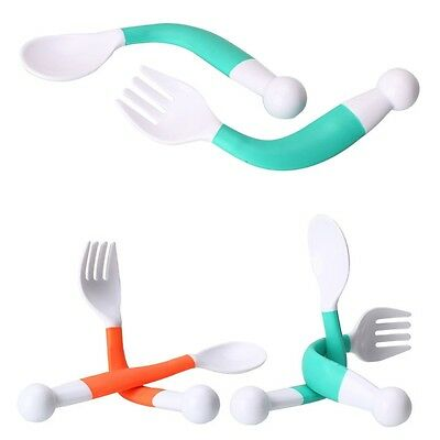 2pcs Baby Spoon Fork Set Health Baby Learning Dishes Children Tablewear Flexible