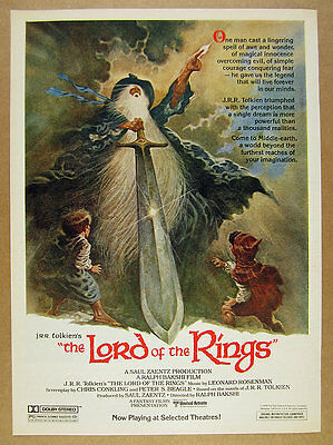 1978 JRR Tolkien's Lord of the Rings movie promo gandalf art vintage print Ad