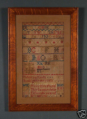 ANTIQUE NEEDLEWORK SAMPLER Dated 1785 Beautiful MISSION OAK FRAME ARCHIVAL GLASS