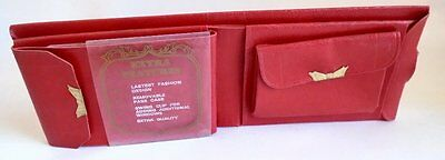 Vintage Wallet Bright Red Womans Leather Bifold Nos New In Box Bottom No Top Lid