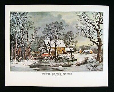 """1952 Vintage Currier /& Ives /""""COUNTRY IN WINTER OLD GRIST MILL/"""" COLOR Lithograph"""