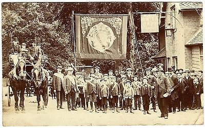 Rare R.p.postcard Bedmond Foresters With Banner-White Hart Inn-Horse Drawn Coach
