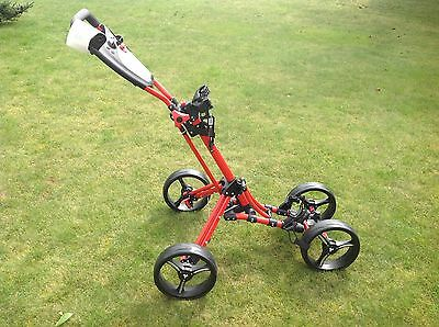 Fastfold Qaud 4 Rad Golf Push Trolley rot Neu