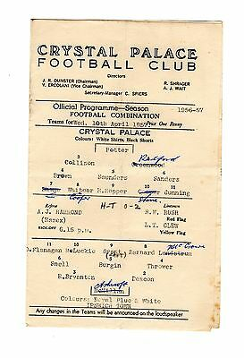 Crystal Palace v Ipswich Town Reserves Programme 10.4.1957