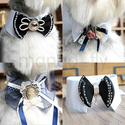 Fashion Dog Cat Pet Bow Tie Bowknot Neck Accessory Puppy Necklace Collar Weeding