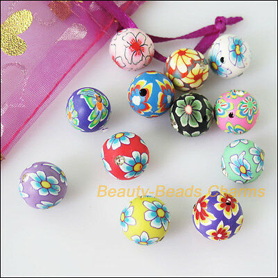 8 New Charms Polymer Fimo Clay Round Flower Crystal Spacer Beads Mixed 12mm
