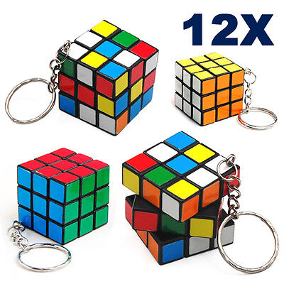 12 X Rubix Cube Keyring Puzzle Mind Game Toy Classic Cube Kids Party Gift Bag