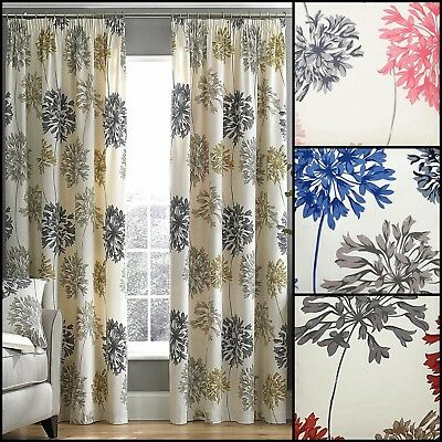 Dandelion Floral Printed Tape Top Fully Lined Curtains - Accessories Available