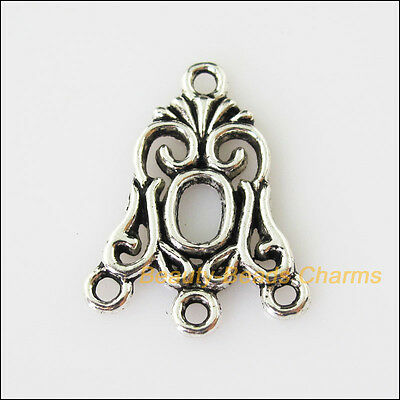 6 New Flower 1-3 Connectors Tibetan Silver Tone Charms Pendants 18.5x24mm