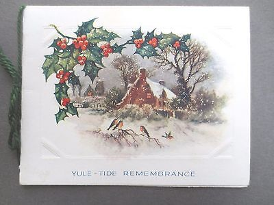 Vintage CHRISTMAS Greetings Card Embossed Holly & Robins Snowy Cottage Scene