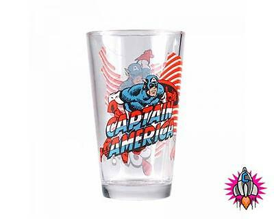 Official Marvel Captain America Large Drinking Glass Tumbler New In Gift Box