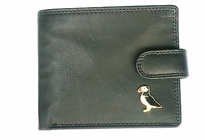 Puffin design Leather Mens Bi Fold Wallet BLACK or Brown wildlife Gift  289