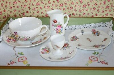 Antique / Vintage Coalport China Shabby Chic Breakfast Set for One Sevres Groups