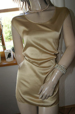 Seidige Satin Bluse Top gold brillanter Glanz 46