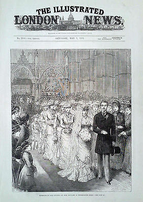 1881 Print Marriage Of Lord Brooke & Miss Maynard At Westminster Abbey