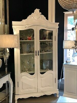 French Chateau Display Cabinet / Wardrobe /Armoire - Antique White