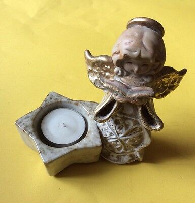 """POTTERY ANGEL. WITH A- """"T"""" LIGHT HOLDER  Approx 5"""" TALL"""