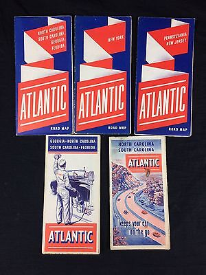 5 Atlantic Gas Motor Oil Road Maps White Flash Vintage PA NJ NY GA NC FL SC