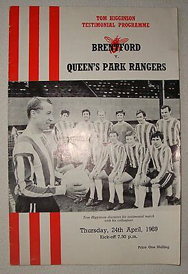 Football Programme: Brentford v QPR Tom Higginson Testimonial, 24th April 1969