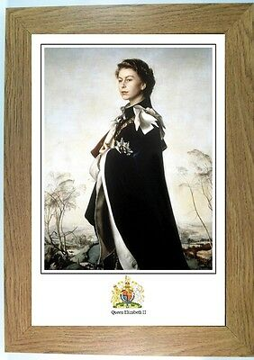 Framed portrait print of Queen Elizabeth II, royal family, choice of frame